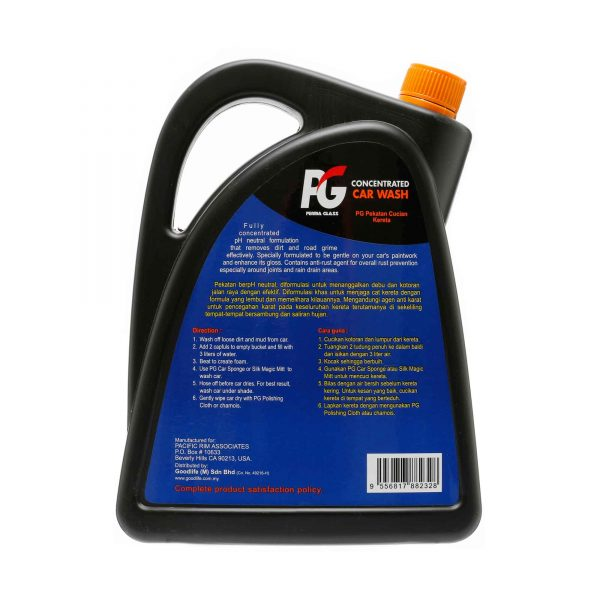 PG Concentrated Car Wash Jumbo Pack 2000 ml bACK